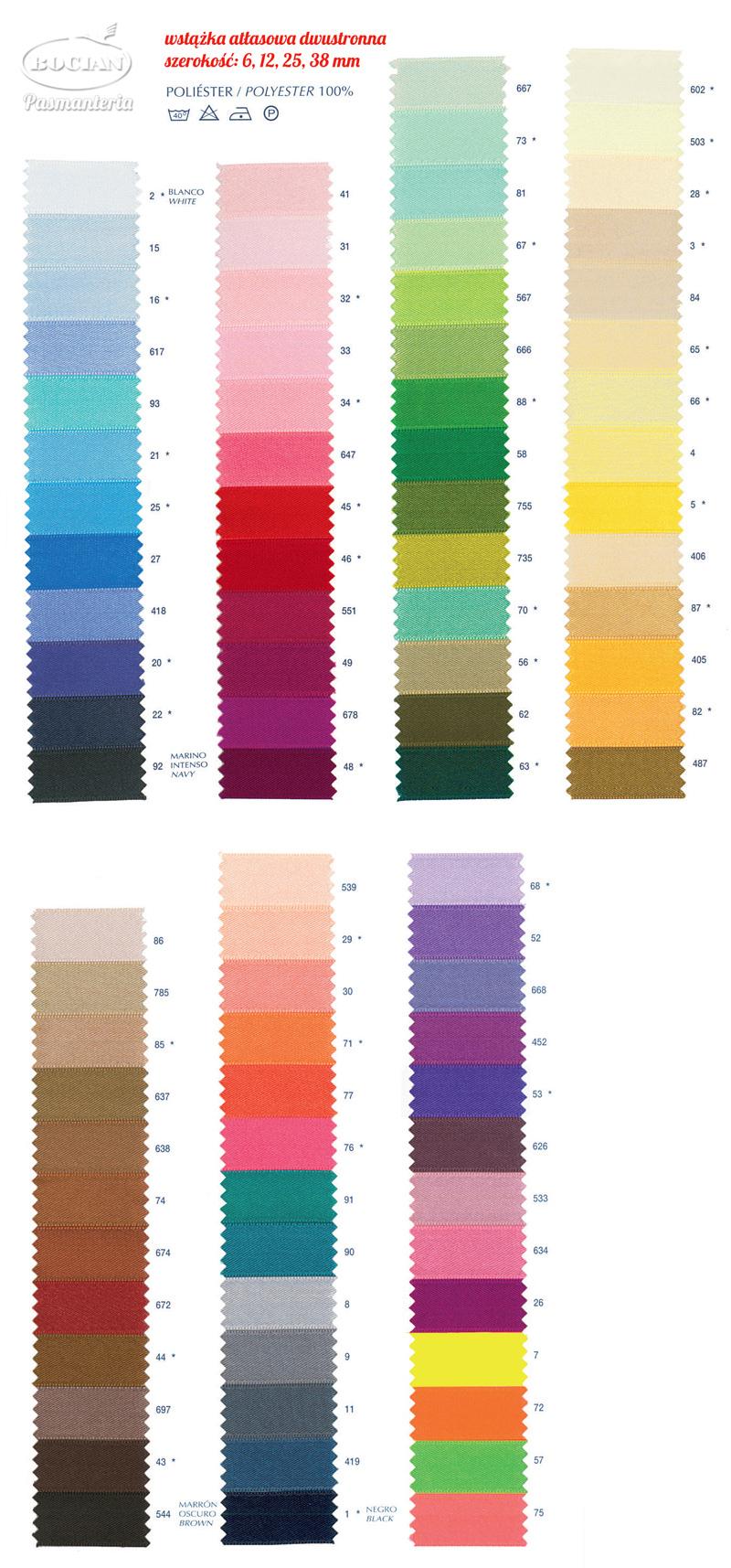 Kolory wstążek atłasowych na zamówienie - pasmanteria BOCIAN