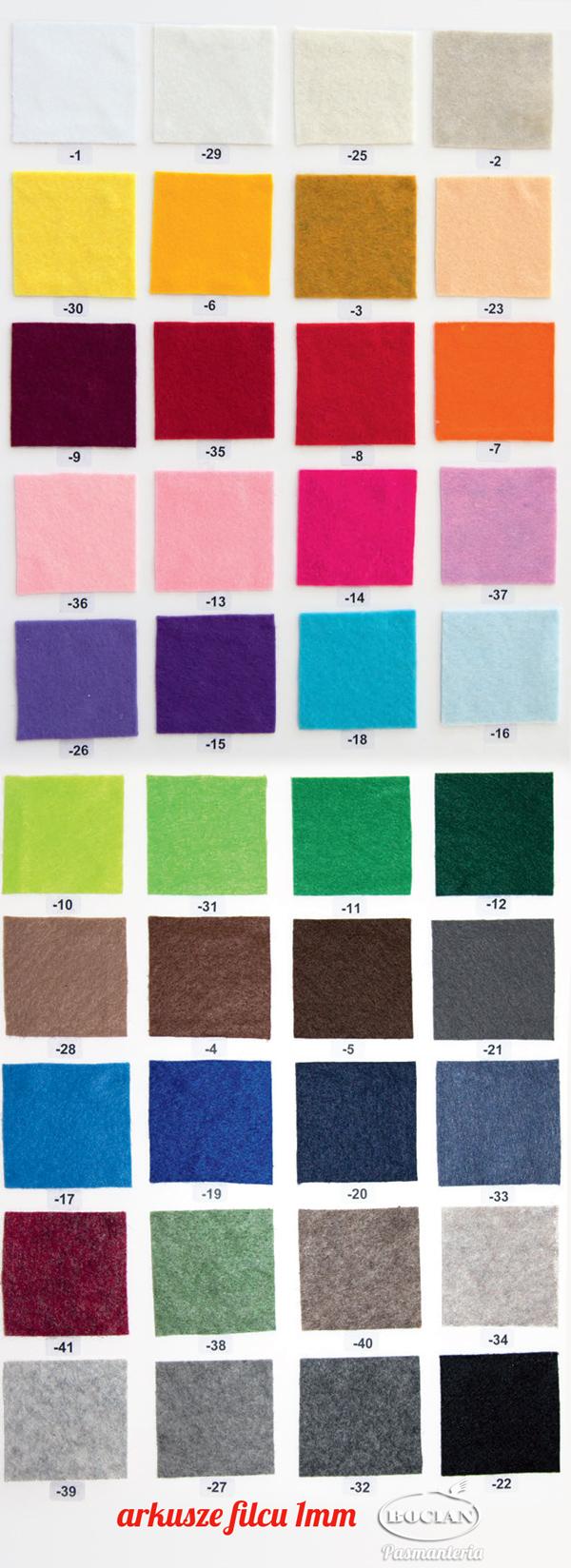 Filc cienki 1mm arkusz 20x30cm - wybór kolorów