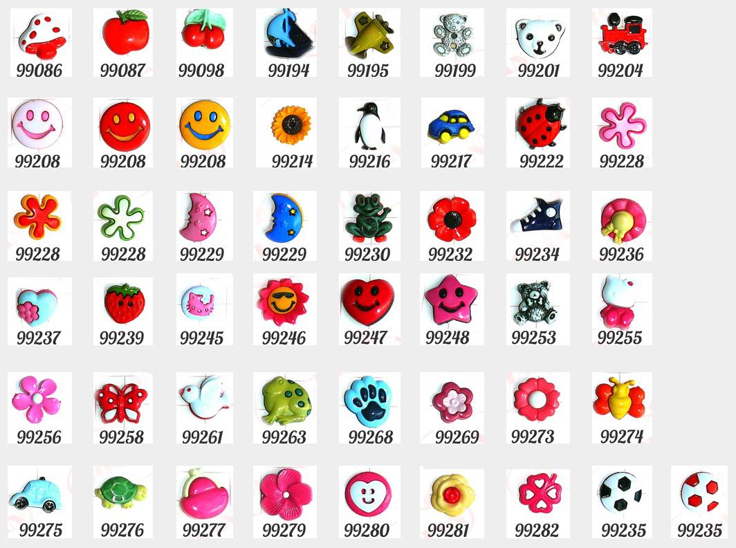 Wzory guzików dziecięcych.