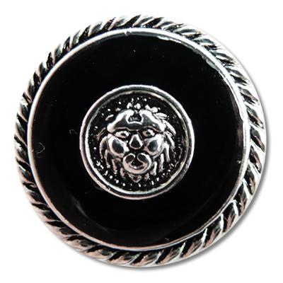 Guzik z głową lwa 99572 rozmiar 40″ srebrno-czarny