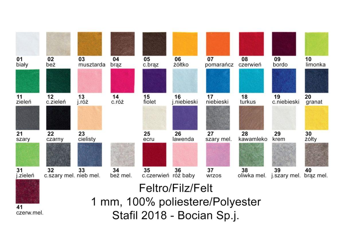 Filc 1mm wzornik kolorów