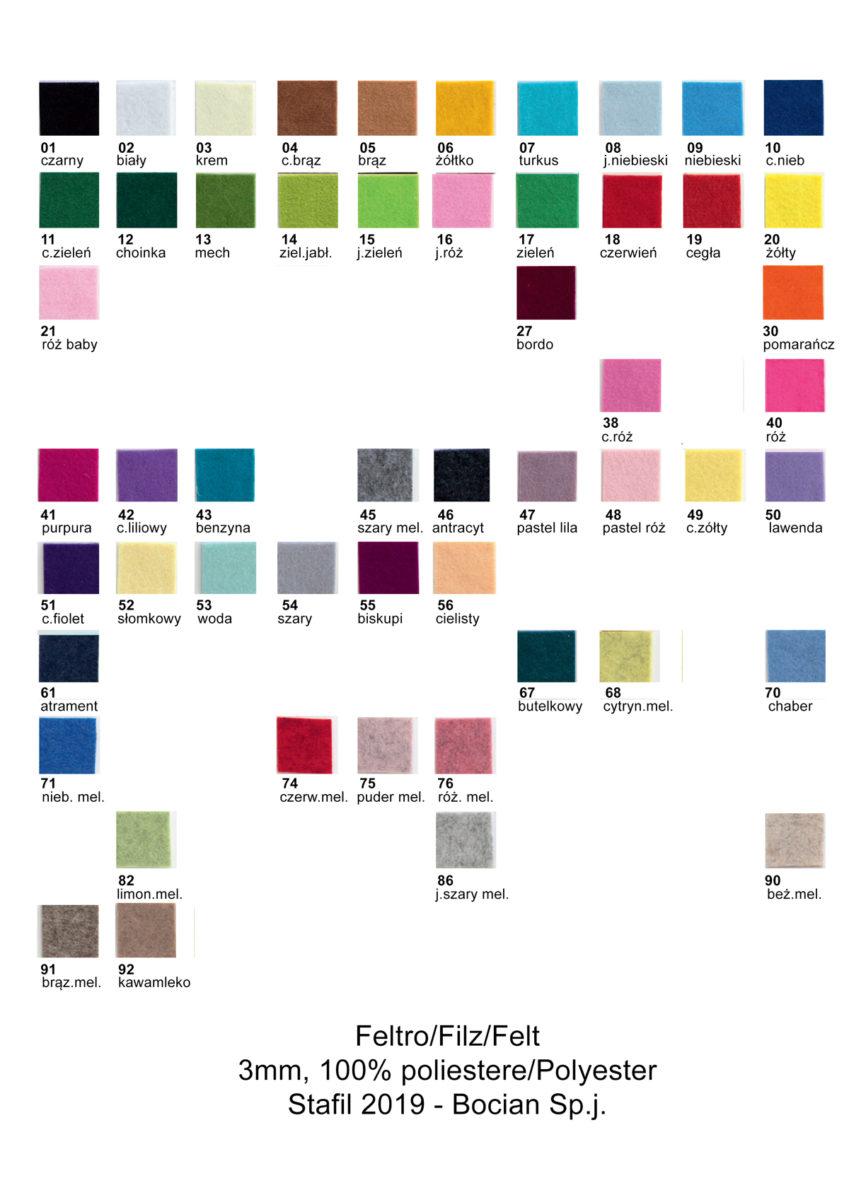 Wzornik kolorów filcu 3mm
