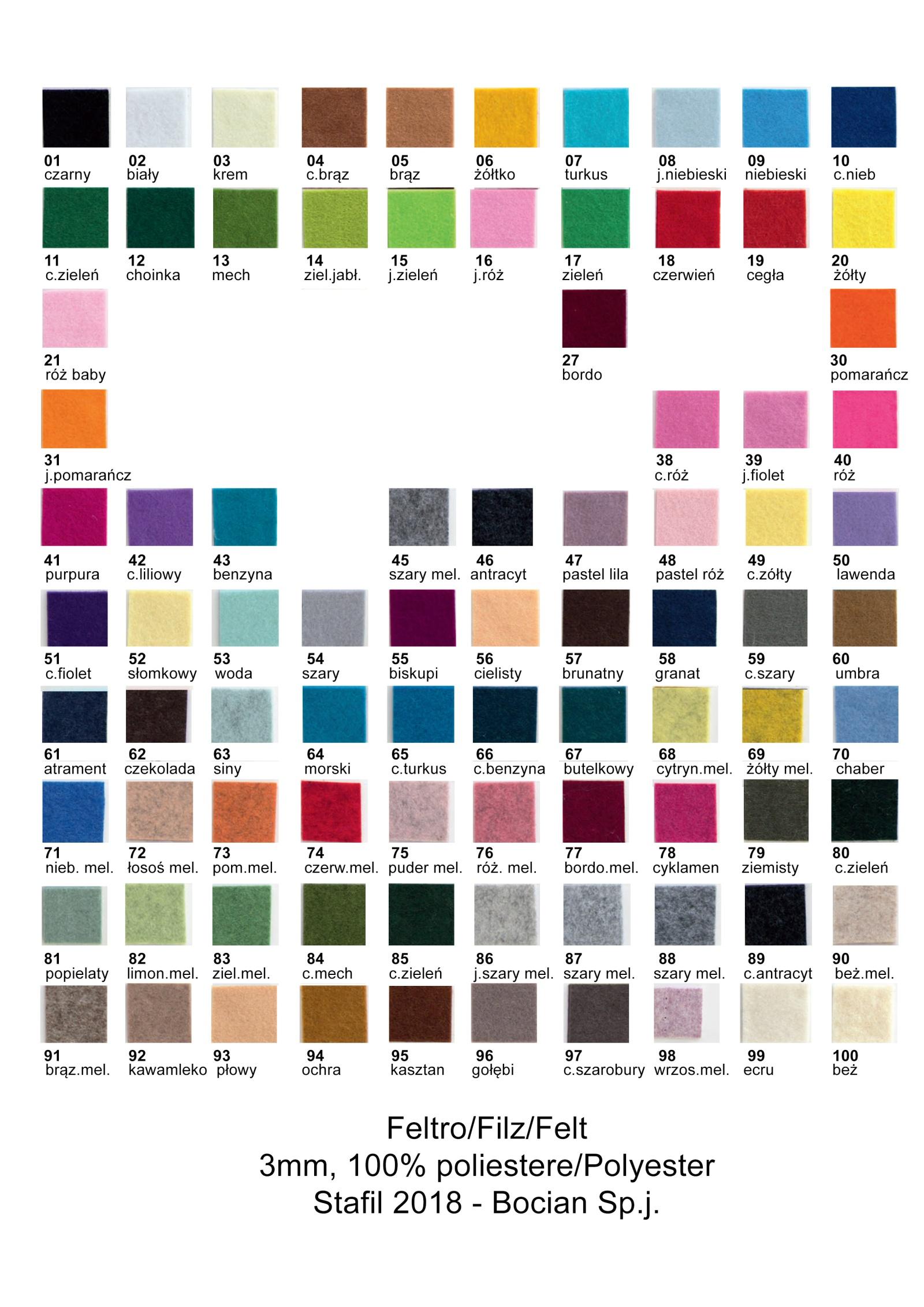 Filc 3mm wzornik kolorów