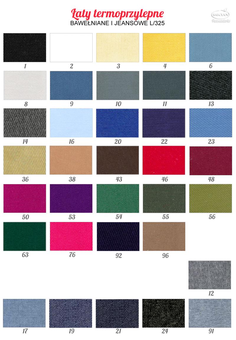 Łaty bawełniane termoprzylepne. Wzornik kolorów do wyboru.